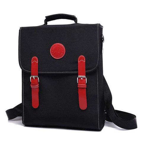 Affordable Color Spliced Double Buckle Nylon Backpack - RED WITH BLACK  Mobile
