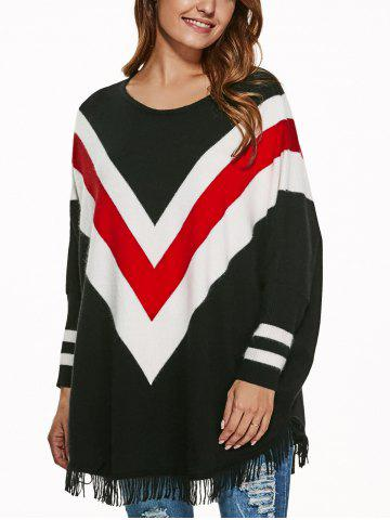 Outfit Batwing Sleeves Fringed Striped Pullover