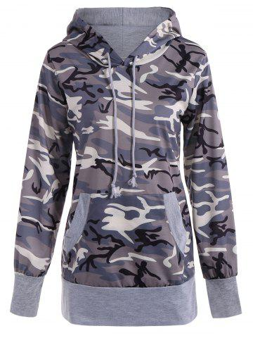Hot Long Sleeve Drawstring Camo Pullover Hoodie