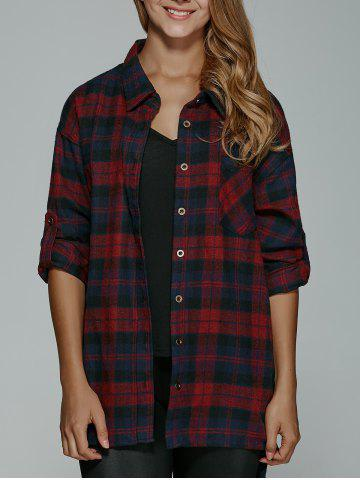 Online Long Sleeve BF Style Plaid Tunic Shirt RED XL