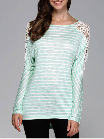 Shops Lace Patchwork Striped Blouse