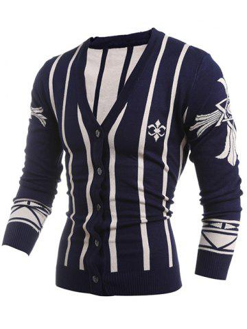 Latest V-Neck Vertical Stripe Single-Breasted Cardigan