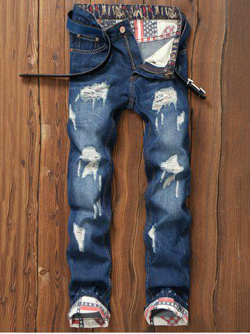 Outfit Star Print Hemming Design Distressed Zipper Fly Straight Leg Jeans BLUE 38