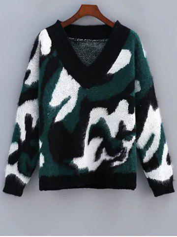 Unique Camo Mohair Sweater GREEN ONE SIZE