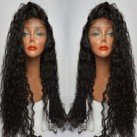 Fashion Long Side Parting Curly Lace Front Human Hair Wig BLACK