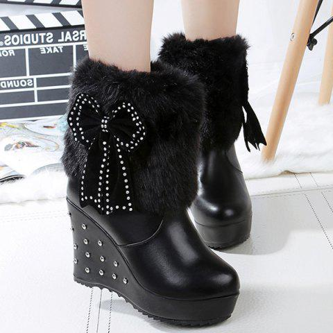 Bowknot Faux Fur Rivet Wedge Boots - Black - 38