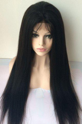 Best Long Yaki Straight Middle Parting Lace Front Human Hair Wig JET BLACK