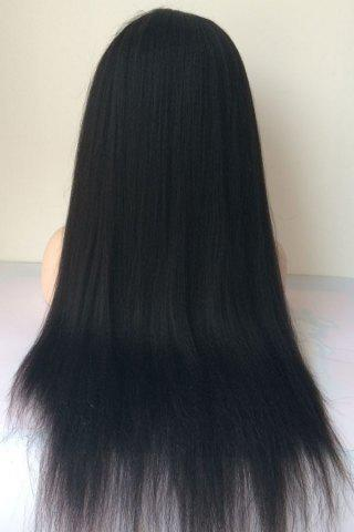 Latest Long Yaki Straight Middle Parting Lace Front Human Hair Wig - JET BLACK  Mobile