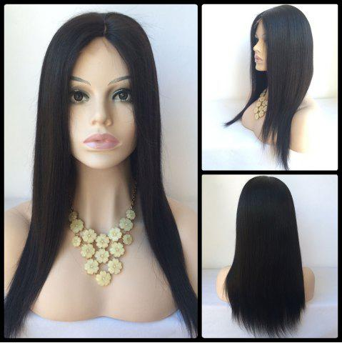 Chic Long Middle Parting Straight Lace Front Human Hair Wig BLACK
