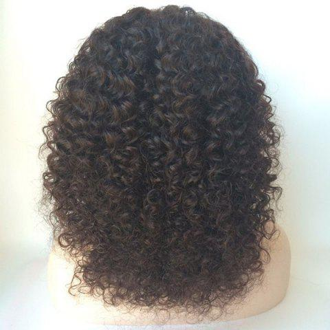 Hot Middle Shaggy Curly Lace Front Human Hair Wig - BLACK  Mobile