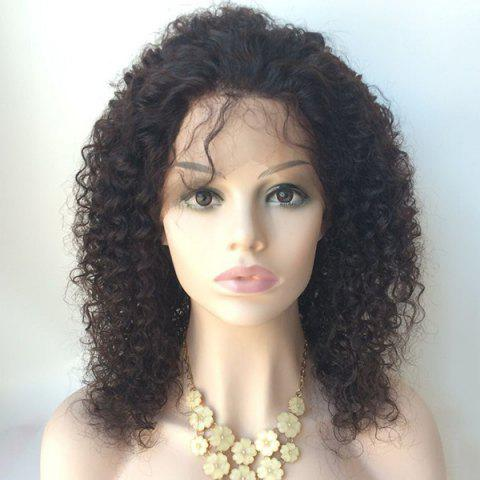 Buy Middle Shaggy Curly Lace Front Human Hair Wig - BLACK  Mobile