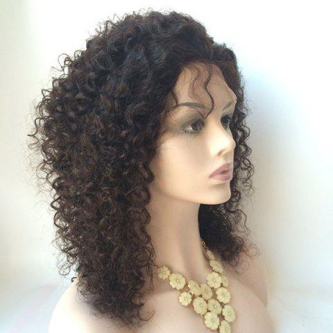 Store Middle Shaggy Curly Lace Front Human Hair Wig - BLACK  Mobile