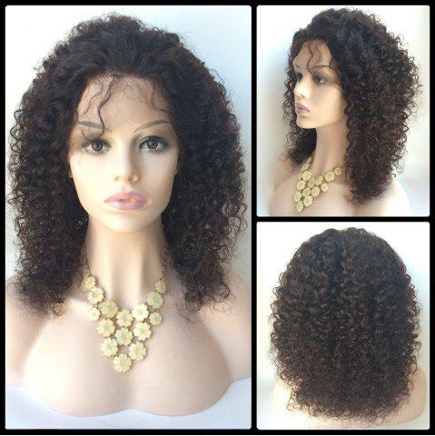 New Middle Shaggy Curly Lace Front Human Hair Wig - BLACK  Mobile