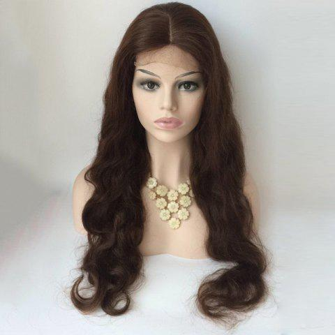 Long Centre Parting Body Wave Lace Front Human Hair Wig - DEEP BROWN