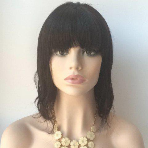 Unique Medium Neat Bang Slightly Curled Lace Front Human Hair Wig BLACK