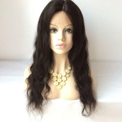 Buy Long Middle Parting Body Wave Lace Front Human Hair Wig BLACK