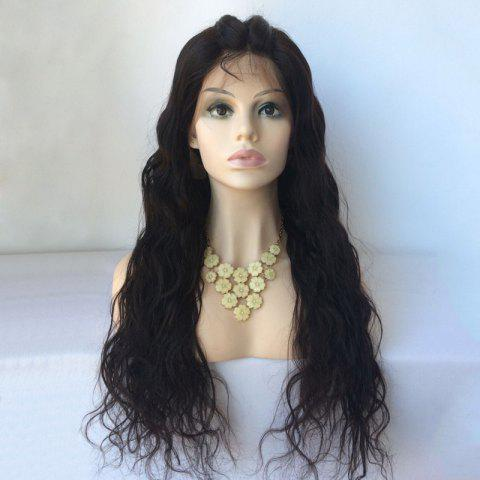 Trendy Long Water Wave Lace Front Human Hair Wig BLACK