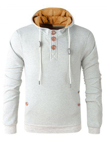 Affordable Elbow Patch Long Sleeve Drawstring Pullover Hoodie - L WHITE GREY Mobile