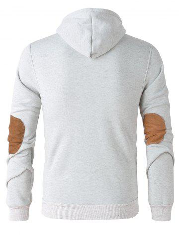 Best Elbow Patch Long Sleeve Drawstring Pullover Hoodie - M WHITE GREY Mobile