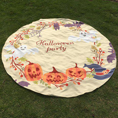 Affordable Festival Halloween Carnival Ghost Pumpkin Pattern Round Beach Throw - ONE SIZE BEIGE Mobile