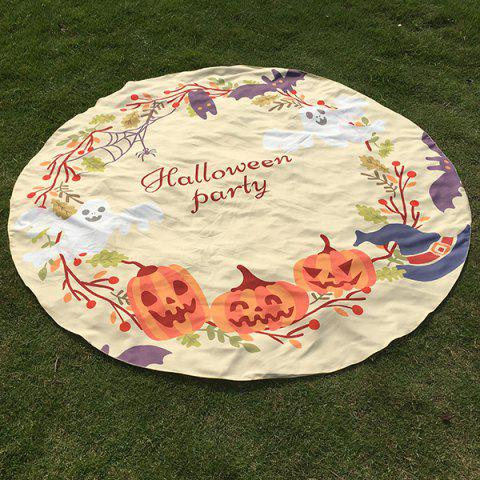Latest Festival Halloween Carnival Ghost Pumpkin Pattern Round Beach Throw