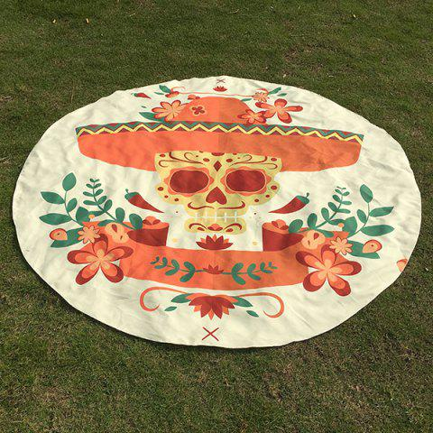 Affordable Halloween Festival Flower Skull Pattern Round Beach Throw - ONE SIZE OFF-WHITE Mobile