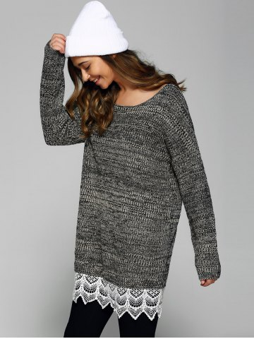 Best Heathered Lace Patchwork Sweater GRAY ONE SIZE