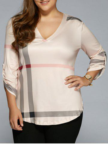Outfit V Neck Plaid Plus Size T-Shirt