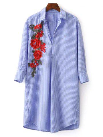 Shirt Neck Striped Floral Embroidered Tunic Casual Shirt Dress - BLUE L