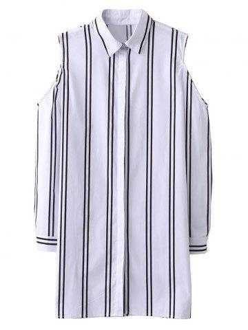 Chic Striped Cold Shoulder Long Shirt WHITE M
