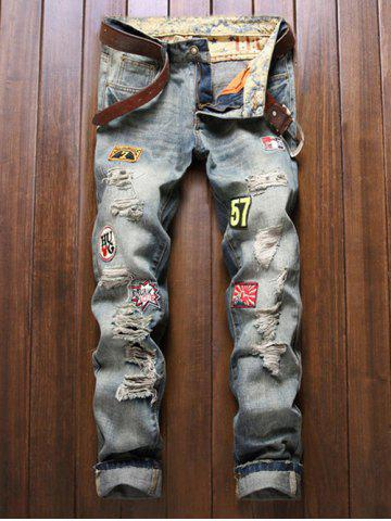 Discount Holes and Cat's Whisker Patch Straight Leg Denim Pants