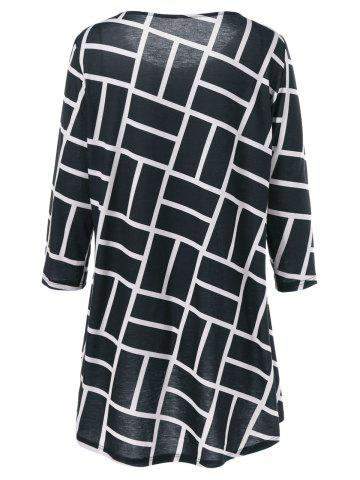 Affordable Plus Size Geometric Smock Blouse - 3XL WHITE AND BLACK Mobile