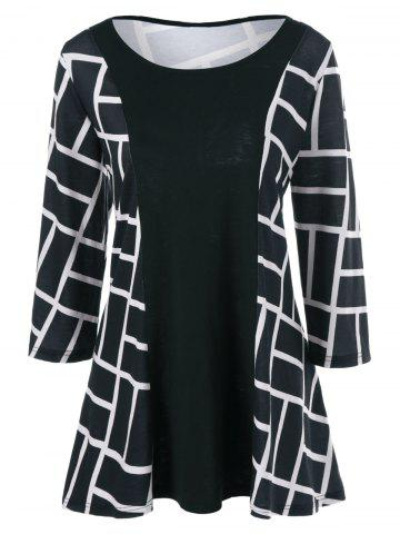 Latest Plus Size Geometric Smock Blouse - 3XL WHITE AND BLACK Mobile