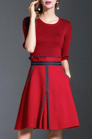 Outfit A Line Peplum Knit Dress RED M
