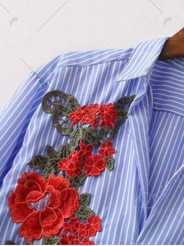 Hot Shirt Neck Striped Floral Embroidered Tunic Casual Shirt Dress - M BLUE Mobile