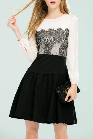 Latest A Line Lace Insert Dress - M BLACK Mobile