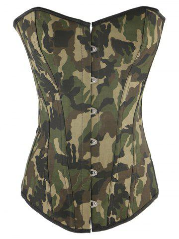 Affordable Lace-Up Camouflage Corset With Panties GREEN 2XL