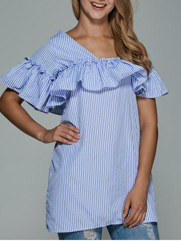 Chic Cami Striped Flounce Ruffles Cold Shoulder Dress