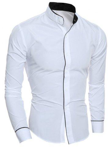 Edging Design Long Sleeve Grandad Chinese Collar Shirt