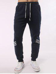 Stripe Paneled Eyelet Drawstring Jogger Pants - CADETBLUE