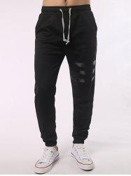 Stripe Paneled Pocket Back Drawstring Jogger Pants - BLACK