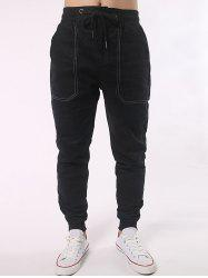 Pocket Design Shirred Waistband Drawstring Jogger Pants