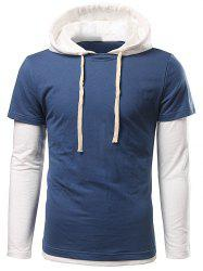 Long Sleeve Insert Drawstring Hoodie - BLUE 3XL