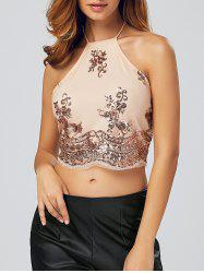 Sequined Lace-Up Backless Crop Top -