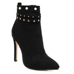 Beaded Rivet Pointed Toe Stiletto Heel Boots - BLACK 39