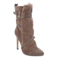 Furry Cross-Strap Stiletto Heel Boots