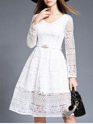 Cut Out Belted Lace Dress -