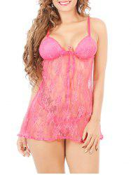 Cami Lace See-Through Badydoll - ROSE RED 2XL