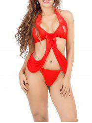 Halter Lace Spliced String Bra and Thong Set -