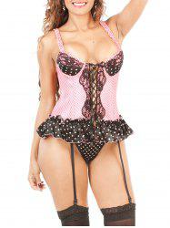 Polka Dot Lace-Up Corset - PINK 2XL